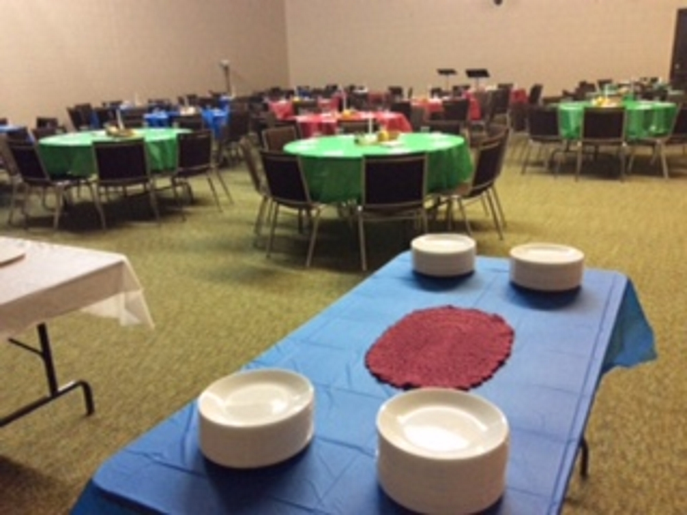 Tables ready for the meal